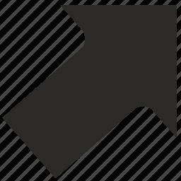 arrow, go, right, top icon