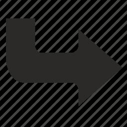 arrow, enter, turn icon