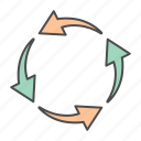 arrow, arrows, circle, recycle icon