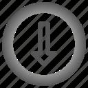 arrow, arrows, circle, down icon