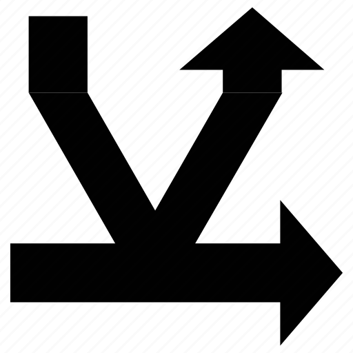 arrows, shape, skip right, split up icon