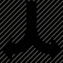 arrows, down, fork, shape icon