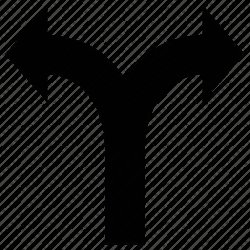 arrow, fork, shape, up icon