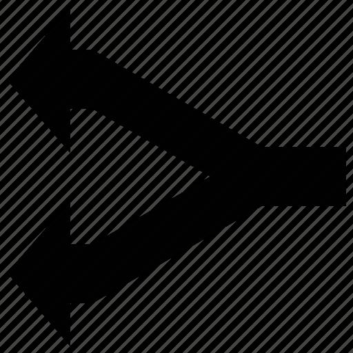 arrow, fork, left, shape icon