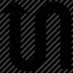 abstract arrow, arrow, curved, shape icon