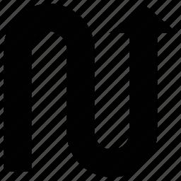 abstract arrow, arrow, arrow shape, curved icon