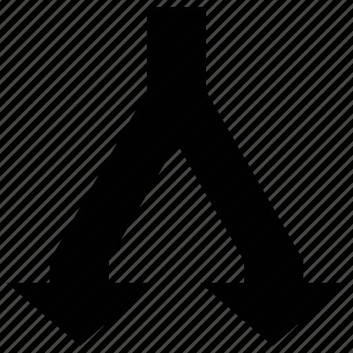 arrow join, arrows, arrows shape, down icon