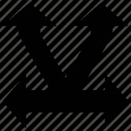 arrow shapes, arrows, double headed, split up icon