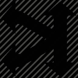 arrow shapes, arrows, double headed, split left icon