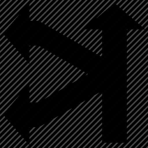 arrows shape, direction, left, split left and up icon