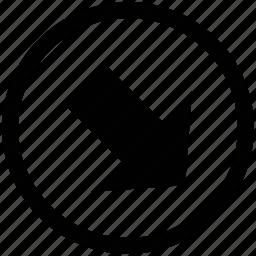 arrow, down, lower right, web arrow icon