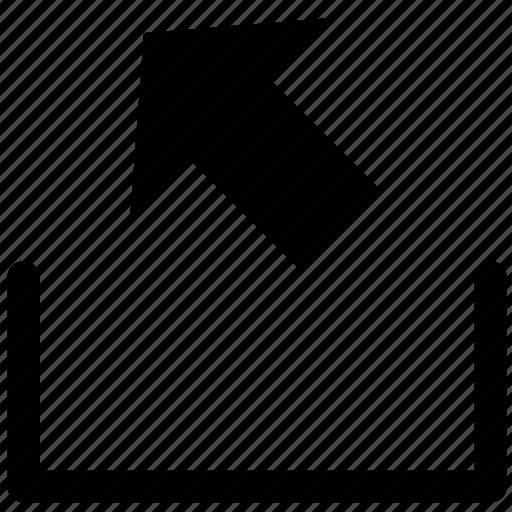 arrow, inbox, left, upper left, web arrow icon