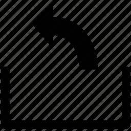 arrow, arrow curve, left, up icon