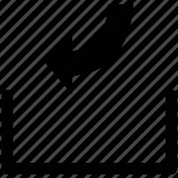 arrow, arrow curve, down, left icon