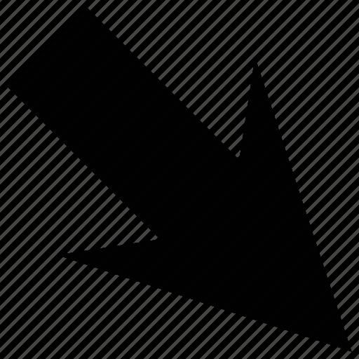 arrow, down, down right, right icon