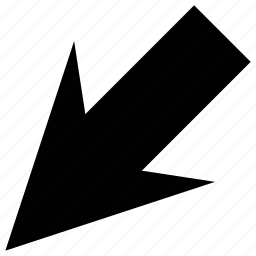 arrow, down, down left, left icon