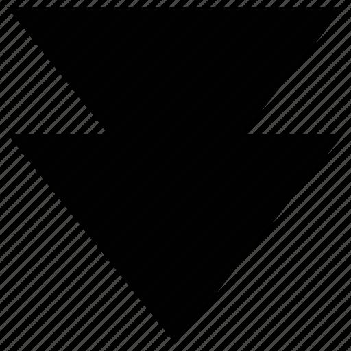 arrow, down, media arrow, media player arrow icon