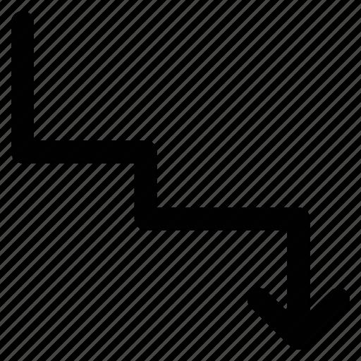 arrow, descending arrow, down, zigzag arrow icon