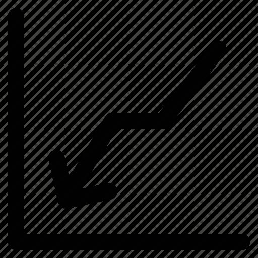 arrow, chart, descending arrow, descending signal icon