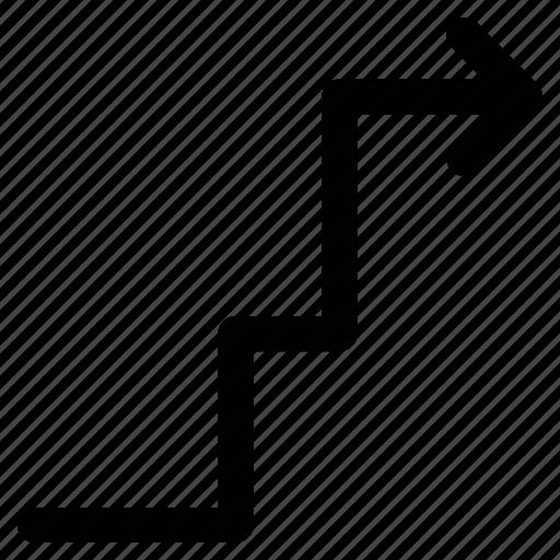 arrow, ascending arrow, up sign, zigzag arrow icon