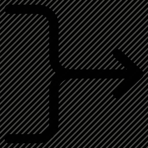 arrow, merge arrow, merge right, pointing arrow icon