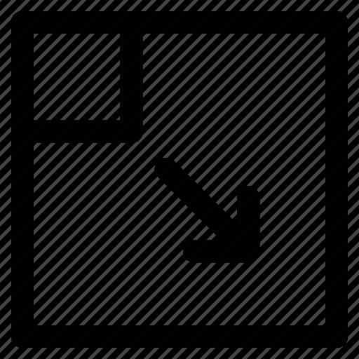 arrow, corner, direction, down right icon