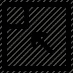 arrow, corner, diagonal, pointing icon