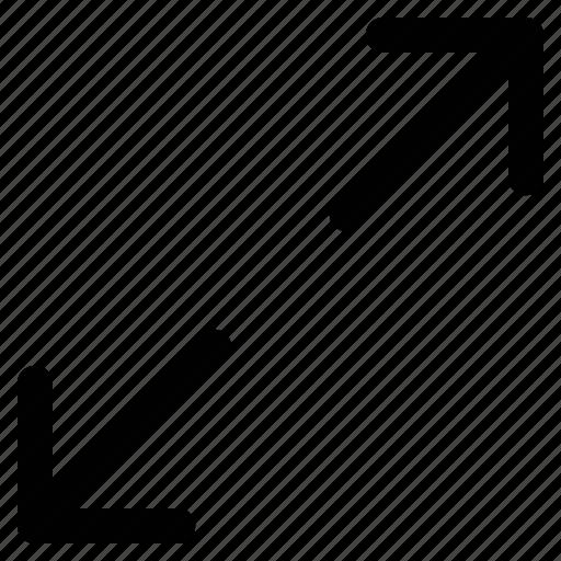 arrows, diagonal, expanding, shape icon