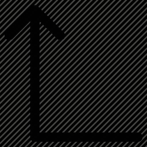 arrow, left, turn, up icon