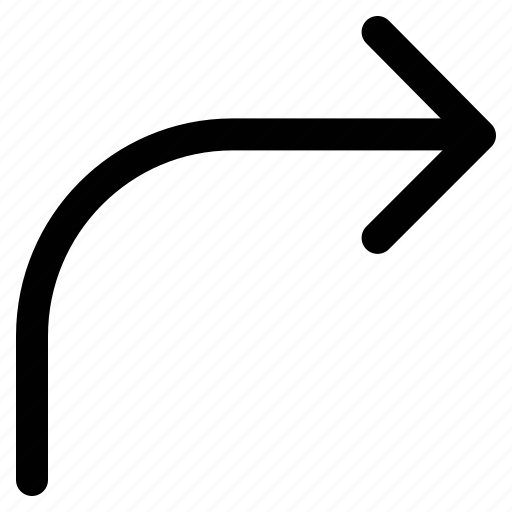 arrow, curve, curving, right, up icon