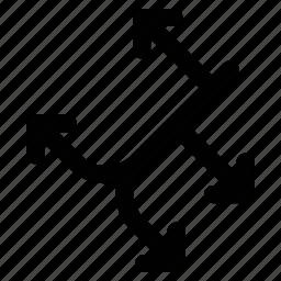 arrows, diagonal, directions, location icon