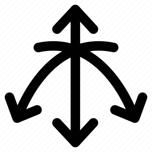 crossed, directional arrows, directions, down icon
