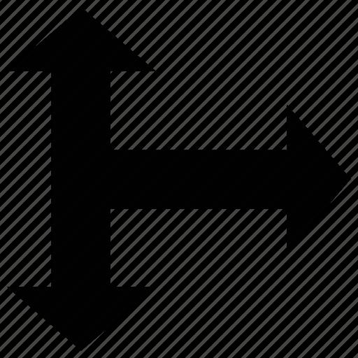 arrow, directional, shape, through icon