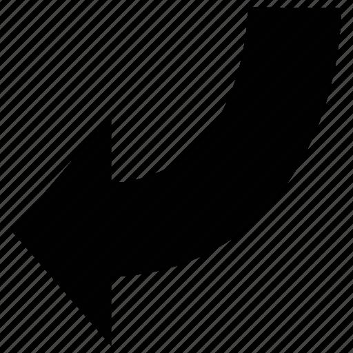 arrow, curve, down, left icon