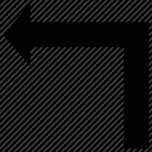 arrow, left, turn, turning, up icon