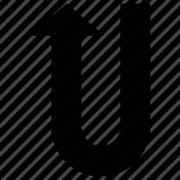 arrow, direction, u-turn, up icon