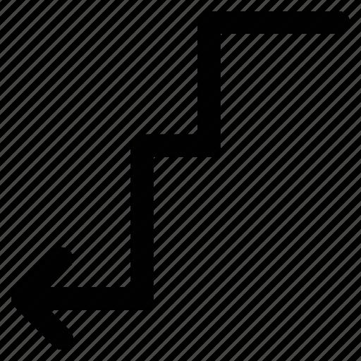 arrow, down, left, zigzag icon