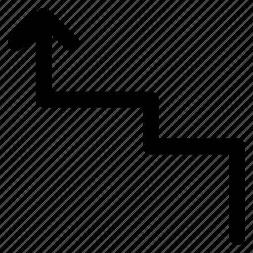 arrow, step up, up, zigzag icon