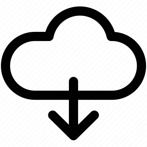 arrow, cloud, down, download, sign icon