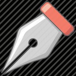art, draw, head, ink, pen, pen nib icon