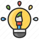 art, brush, bulb, coloring, design, ideas icon