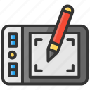 art, design, drawing, pad, pen, tablet icon