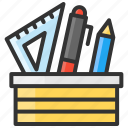 art, ballpoint, design, pen, pencil, ruler, stationery icon