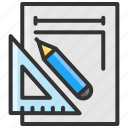 art, design, measure, pencil, ruler icon