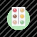 art tool, color palette, paint palette, paint tray, painter palette icon
