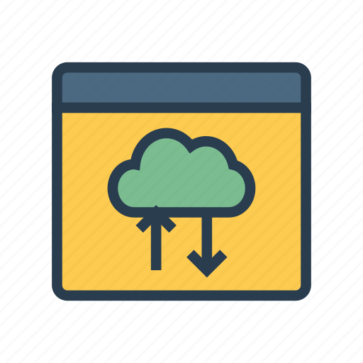 cloud, download, server, upload, webpage icon