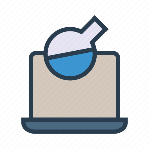 device, flask, lab, laptop, science icon