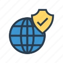 global, security, shield, tick, world icon