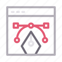 bezier, curve, design, online, webpage icon