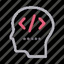 coding, development, face, head, programming